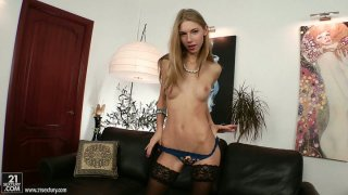 Wondrous wanker with nice tits Abbie has a dildo for her pussy