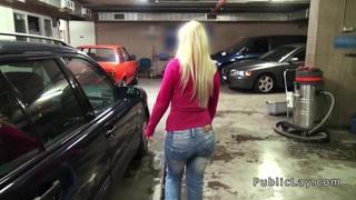 Female boss wanking cock in public garage