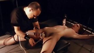 Slave pussy spread for masturbation in bondage bed