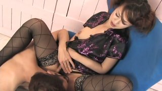 Raunchy Japanese whore Ami Matsuda gets pleased by mature man