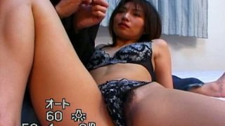 Short haired chick Hitomi Ikeno gets her hairy cunt fingered