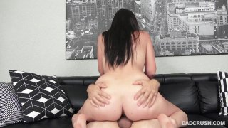 Curvy brunette beauty is ready for wild dick riding session