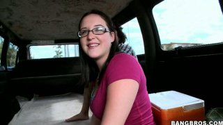 Cute four eyed girl gives blow job Amy