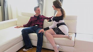 Naughty maid seducing a guy