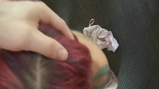Pink haired punk girl pussy banged