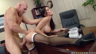 Busty brunette Jessica Jaymes fucks her boss in the office