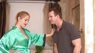 Lucky businessman got a naughty massage from a hot blondie