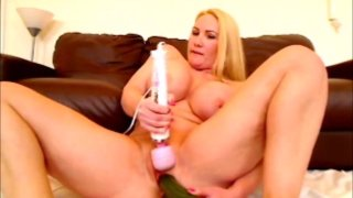 DP with cucumbers both holes fucked loud orgasm