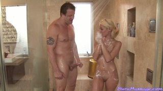 Delcious blonde whore Rebecca Blue gives steamy handjob in Jacuzzi