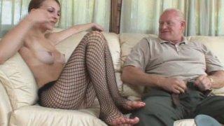Old pervert enjoys a footjob performed by Jordan Minor