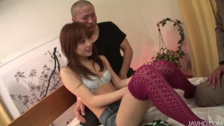 Filthy redhead asian Miina Yoshihara seduced for threesome