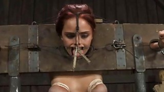 Beauty receives facial torture during bdsm play