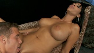 Dirty slut Veronica Rayne is doing a titsjob and sucking on a dick really good