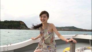 Innocent Japanese teen Rinas Wonderland jumps on bed in bikini