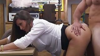 Brunette jerks off pawnshopowners cock