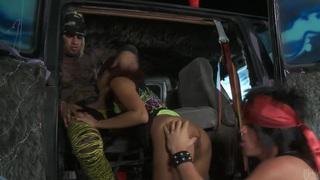 Slutty asian Kaylani Lei gets tag teamed in a van