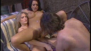 Feisty chicks Eva Angelina and Harmony Rose are fucking in a passionate threesome sex video