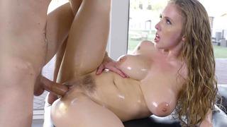 Lena Paul takes club-like cock on the massage table