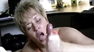 Milf Helps Lucky Guys Cock Spurt With Jizz