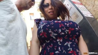 Asian hooker Tigerr Benson gives a blowjob in public and gets anus fucked indoor