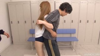 Fitness training turns into threesome for cute Asian chick