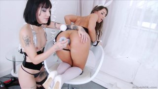 Horny lesbians are testing their assholes with huge sex toys