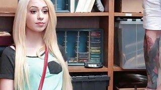 Blonde teen thief Joseline fucks infront of dad