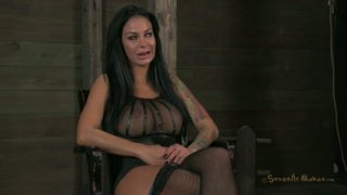 Bosomy brunette milf Angelina Valentine is ready for BDSM