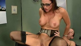 Foxy brunette Sky Taylor rubs her clit with big meaty cock.