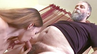 Young chick gets brave to suck old jock of a guy