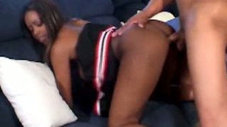 Zesty and svelte ebony teen gets her tight poon banged by BBC