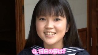 Cute Japanese college student poses in white swimsuit on cam