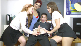 Ella Hughes, Zoe Doll and their teacher Shona River suck new student's cock