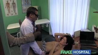 Fake Hospital Stiff neck followed by a big stiff cock