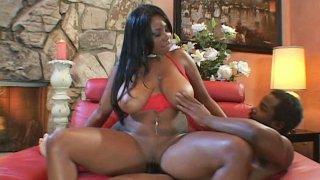 Black whore Candice Von hops on a hard shaft