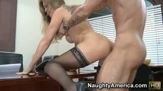 Dominant business lady Dyanna Lauren makes her male employee bang her pussy
