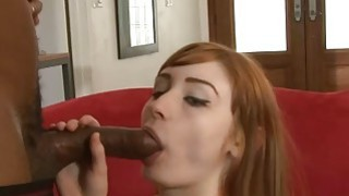 Cute redhead babe double stuffed by massive black cocks