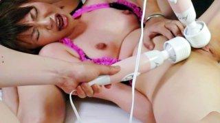 Four guys have a blast using vibrators on sweet Kana Mimuras little pussy