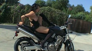 Tasty juicy butt rides bike. Adriana Faust outdoor strip show
