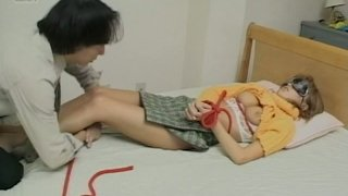 Blindfolded nerdy slut from Japan gets bounded and pussy licked