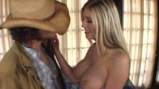 Insatiable blonde girl Michelle Barrett sucks her cowboy's long hard cock