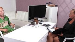Hairy cunt female agent gives face sitting