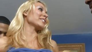 Blonde whore Katie Summers anal creampied by black men
